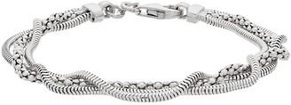 Sterling Silver Triple Strand Mixed Chain Bracelet
