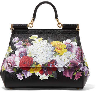Dolce & Gabbana Sicily Medium Floral-print Textured-leather Tote - Black