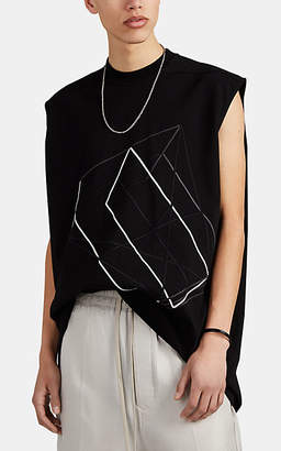 Rick Owens Men's Embroidered Cotton Oversized T-Shirt - Black