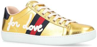 Gucci Metallic Slogan Ace Sneakers