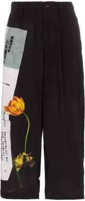 Yohji Yamamoto wide-leg printed crop trousers