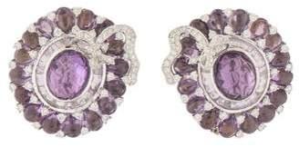 18K Amethyst & Diamond Wreath Earrings