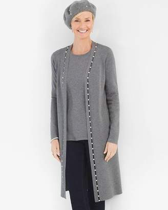 Chico's Chicos Faux-Pearl Inset Cardigan