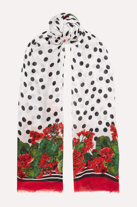 Dolce & Gabbana Frayed Printed Modal And Silk-blend Twill Scarf - Red