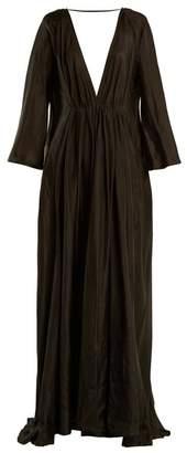 Kalita - Clemence Deep V Neck Silk Maxi Dress - Womens - Dark Grey
