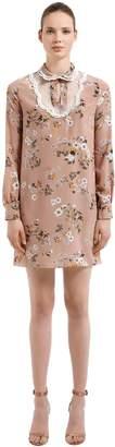 Rochas Floral Printed Silk Crepe De Chine Dress
