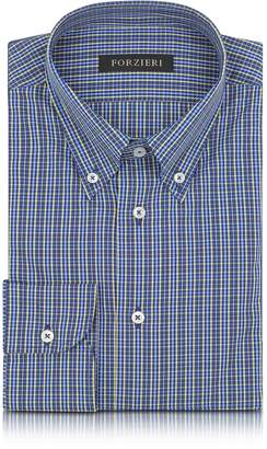 Forzieri Blue and Yellow Plaid Cotton Slim Fit Men's Shirt