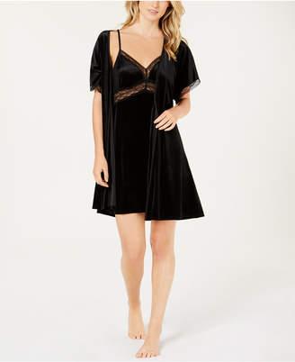 Linea Donatella Sets To Go Velvet Chemise & Wrap Robe