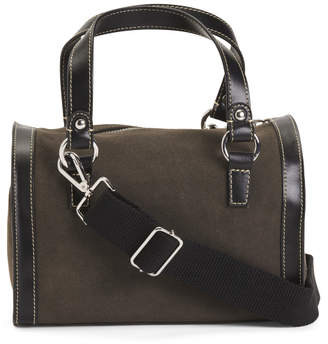 Mini Suede Duffel With Leather Trim