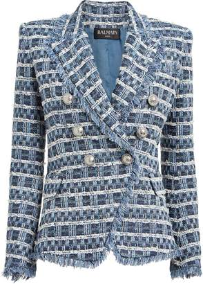 Balmain Double-Breasted Boucle Blazer