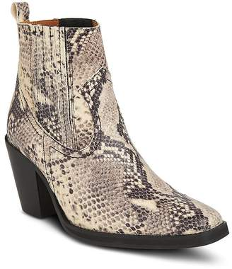 Whistles Women's Allington Snakeskin-Embossed Leather Mid-Heel Western Booties