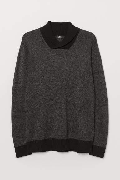 H&M - Shawl-collar Sweater - Gray