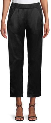 Zero Maria Cornejo Elli Slim Straight-Leg Satin Cropped Pants