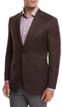 Brioni Solid Wool Sport Coat, Rust Brown