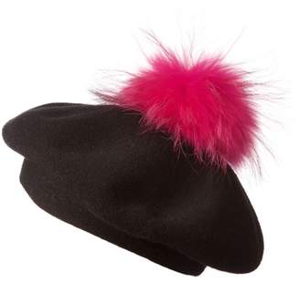 Popski London Bella Beret Fur Pom Pom Hat Black With Hot Pink Fur Pom Pom