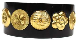 Chanel Gold Tone Hardware Charms Black Resin Cuff Bracelet