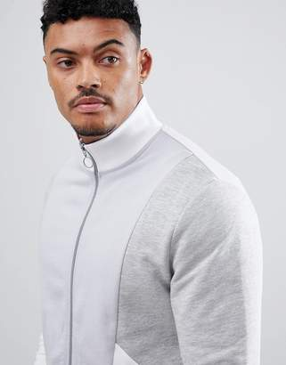 Asos DESIGN Jersey Track Jacket With Gray Color Blocking