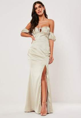 Missguided Bridesmaid Champagne Satin Bardot Milkmaid Maxi Dress