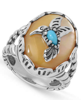 American West Turquoise Hummingbird Ring in Sterling Silver