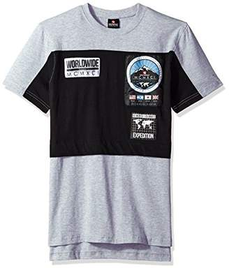 Southpole Men's Short Sleeve Tee with Colorblock and Nylon Patch
