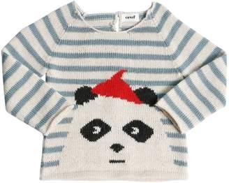 Oeuf Panda Striped Baby Alpaca Knit Sweater