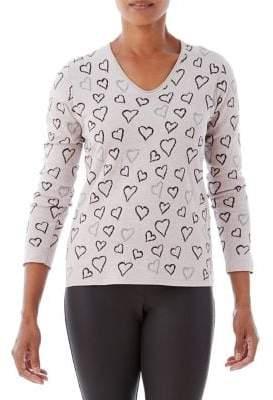 Olsen Heart Printed Pullover