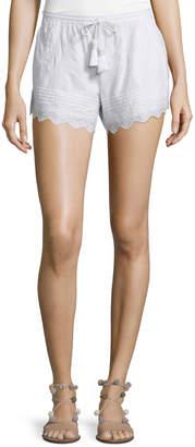 Calypso St. Barth Farfett Drawstring-Waist Eyelet Shorts, White