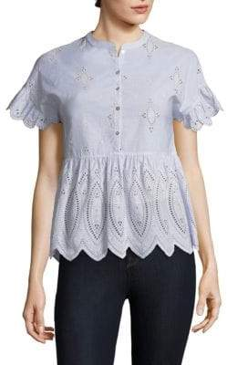 Joie Cerelia Embroidered Eyelet Blouse