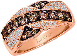 Levian 14K Rose Gold Ring with Chocolate and Vanilla Diamonds $5,200 thestylecure.com