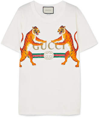 9a3ecf863bd Gucci Oversized Printed Stretch-cotton Jersey T-shirt - White