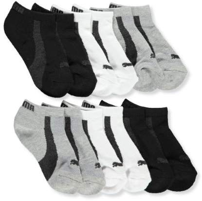 Boys' 6-Pack Low-Cut Socks (Sizes 5 - 11) - charcoal gray/white, 7 - 8.5 / 3 - 7 years