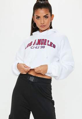 Missguided White Extreme Oversized Graphic Cropped Hoodie