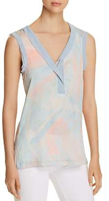 Donna Karan Sleeveless Brushstroke-Print Top