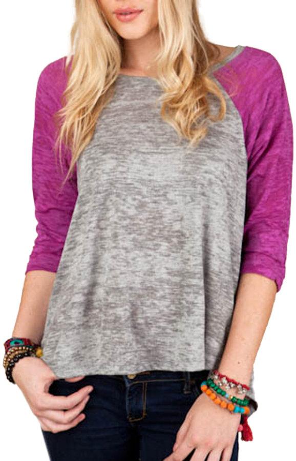 ALTERNATIVE APPAREL Three-Quarter Sleeve Burnout Baseball T-Shirt