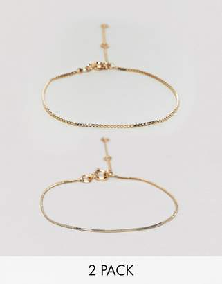 Weekday 2-pack chain bracelets in gold
