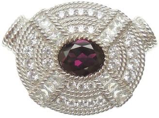 Judith Ripka Sterling Diamonique & Rhodolite Magnetic Pendant