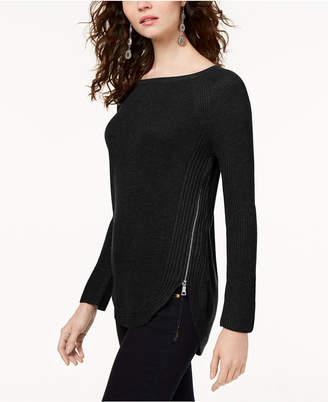 INC International Concepts I.n.c. Petite Waffle-Knit Side-Zip Tunic Sweater