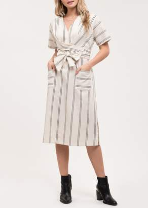 Blu Pepper Front Tie Stripe Print Pocket Midi Dress