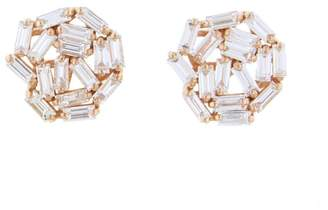 Suzanne Kalan White Diamond Baguette Firework Stud Earrings - Rose Gold