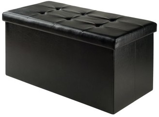 Winsome Wood Ashford Ottoman with Storage, Black Faux Leather