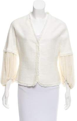 Giambattista Valli Collarless Fringe-Trim Blazer