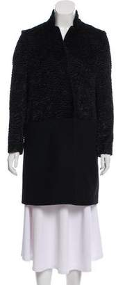Les Copains Faux Shearling Wool-Paneled Coat
