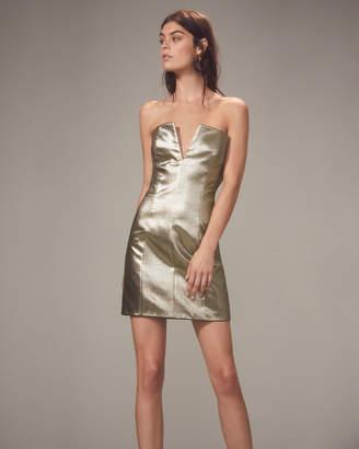 Intermix Redemption Gold Lame Strapless Mini Dress