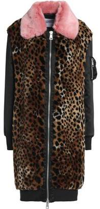 Ainea Satin-Paneled Leopard-Print Faux Fur Coat