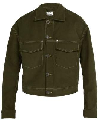 Acne Studios Topstitched Stretch Cotton Jacket - Mens - Green