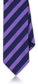 Barneys New York MEN'S SATIN AND CHAMBRAY STRIPED NECKTIE - PURPLE