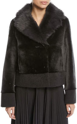 Loro Piana Short Shearling Coat w/ Curly Cuff & Hem