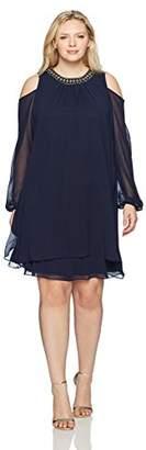 Xscape Evenings Women's Plus Size Short Chiffon Overlay Dress