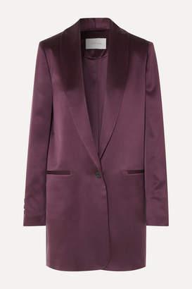 La Collection - Amandine Oversized Silk-satin Blazer - Plum