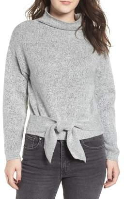 Love By Design Tie Hem Funnel Neck Sweater